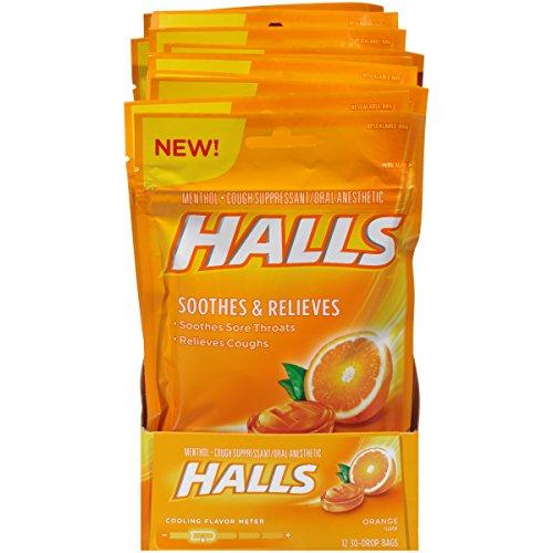Halls Orange Cough Drops - with Menthol - 360 Drops (12 bags of 30 drops)