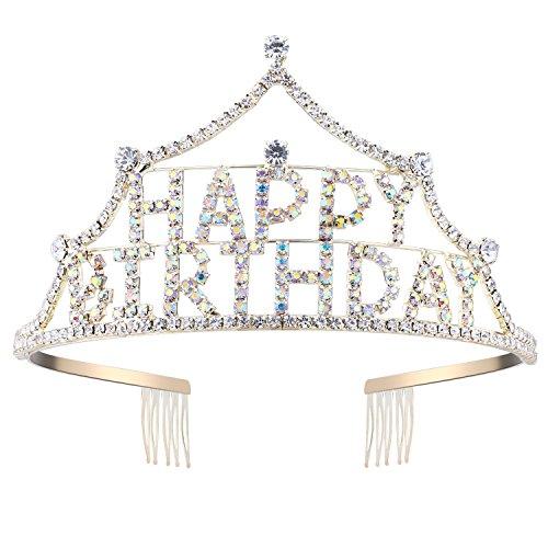 Princess Crown Pin (BABEYOND Multicolor Crystal Rhinestone Tiara Princess Crown Comb Pin Happy Birthday Crown)