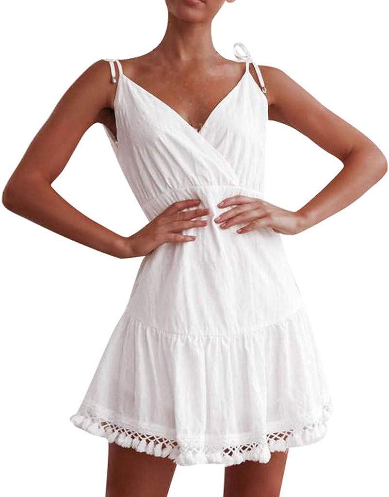 MAYOGO Kleider Sommerkleid Damen Weiß Kurz Minikleid Verstellbarer
