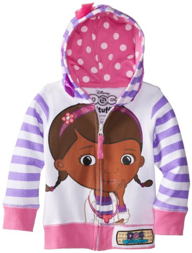 Disney Toddler Girls' Doc Mcstuffins Hoodie, White Multi, 4T (Dc Lined Sweatshirt)
