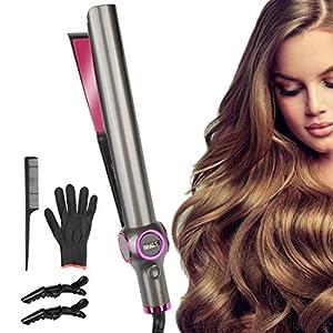 Etmury Fer à lisser et à boucler – Curl&Straight Multistyler 2 en 1 [Mise à niveau] : plaques de coiffure incurvées pour…