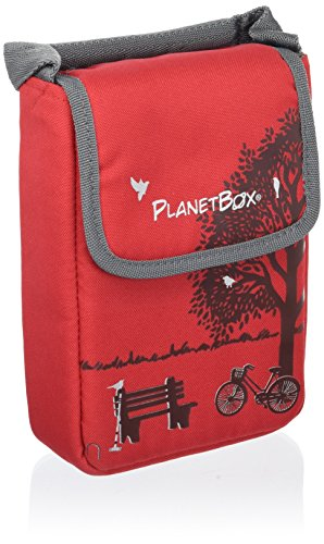 PlanetBox SHUTTLE Eco-Friendly Stainless Steel Bento Lunch Box with 2 Compartments for Adults and Kids - Red  Carry Bag with Day In The Park Magnets