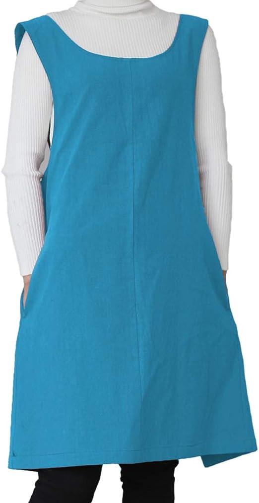 AOBBYBBS Delantal de Lino y algodón Suave, Color sólido, con Forma de X, Estilo japonés, para cocinar, Regalo para Mujeres y chefes de inauguración de la casa: Amazon.es: Hogar