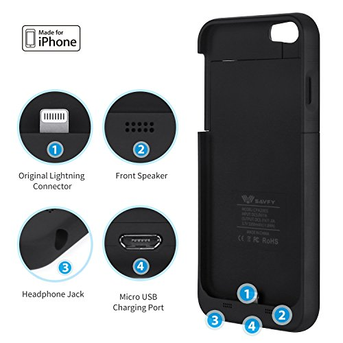 iPhone 6S Battery court case Apple MFi Certified SAVFY 3200mAh Rechargeable Extended Charging Battery court case for iPhone 6 iPhone 6s 47 inch narrow handheld Charger Backup ability Bank Black Batteries