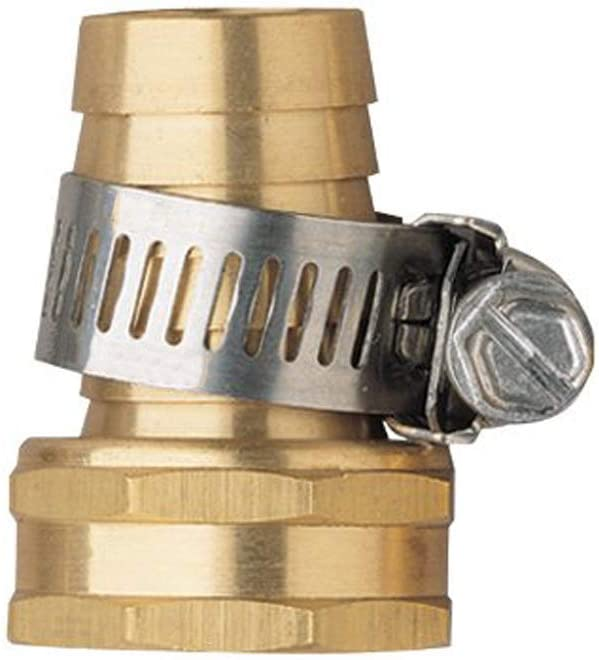 Hanobo 2 Pack Brass 5/8 Inch Female Thread Garden Hose Connectors Repair Mender with Clamps