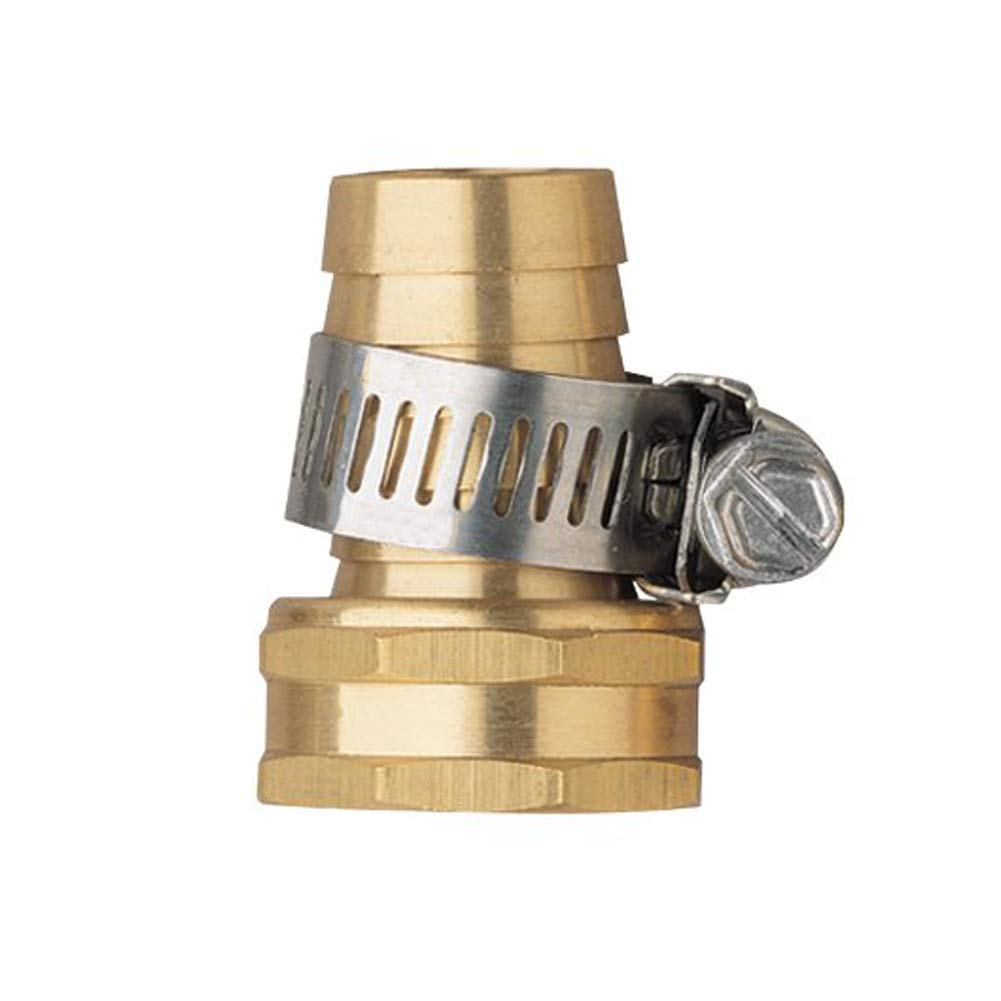 Hanobo 2 Pack Brass 3/4 Inch Female Thread Garden Hose Connectors Repair Mender with Clamps