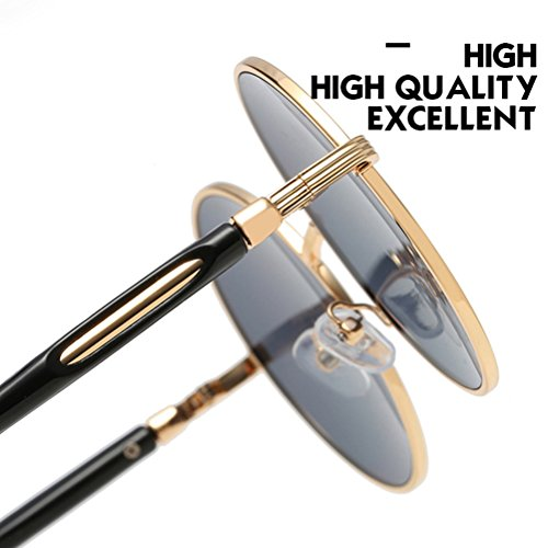Oversized amp;gray de estuche for Zhuhaitf Womens Mirror Polarized gafas Design Mens Round Fashionable Sunglasses Unisex Con Frames Gold vwqUTpO0w