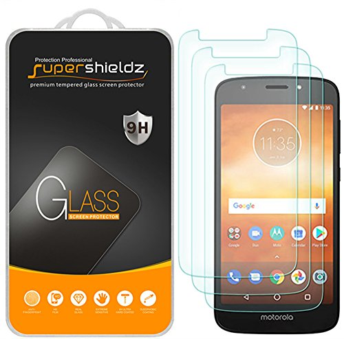 (3 Pack) Supershieldz for Motorola (Moto E5 Play) and Moto E Play (5th Gen) Tempered Glass Screen Protector, 0.33mm, Anti Scratch, Bubble Free