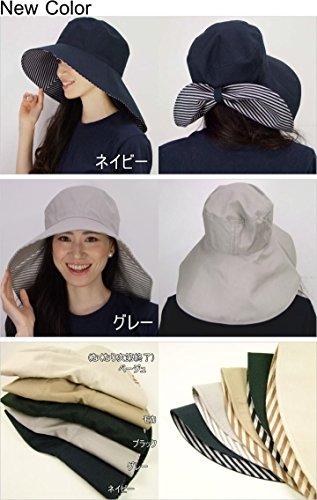 首までしっかりUVガードのつば広帽子【UVカット率99%以上】【日傘いらずの紫外線対策帽子】(ネイビー)