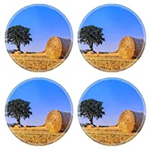 Luxlady Natural Rubber Round Coasters Image ID: 43950613 Hay bale in the harvest time