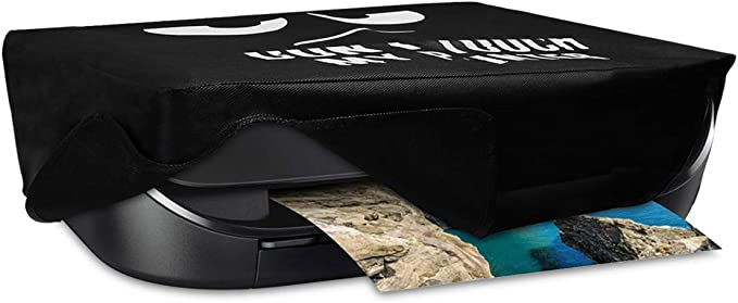 Durable and Resistant Printer Dust Cover Dont touch my printer White//Black kwmobile Cover Compatible with HP OfficeJet 3831