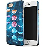 Glitbit iPhone 7 / 8 Case Moon Phases Galaxy Star Nebula Cosmic Universe Cosmos Tumblr Luna Outer Space Thin Design Durable Hard Shell Plastic Protective Case For Apple iPhone 7 / 8