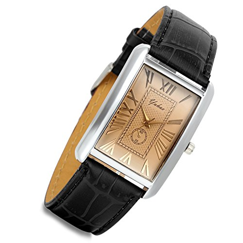 Men's Square Watch Retro Vintage Silver Tone Case Crocodile Pattern Black Leather Strap Business Casual Dress Wrist Watch from Lancardo