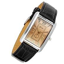 Lancardo Retro Vintage Silver Tone Case Crocodile Pattern Black Leather Men's Couple Square Watch(Men)
