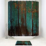 Anzona Country Rustic Distressed Teal Green Barn Wood Non-slip Printed Bathroom Mat, Fabric Bathroom Shower Curtain With Rug Mat 12 Hooks Set of 2 Items