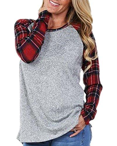 Sweatshirts Long Sleeve Plaid Raglan T-Shirt Tunic Tops (L, A-Red) (Raglan Long Sleeve Top T-shirt)