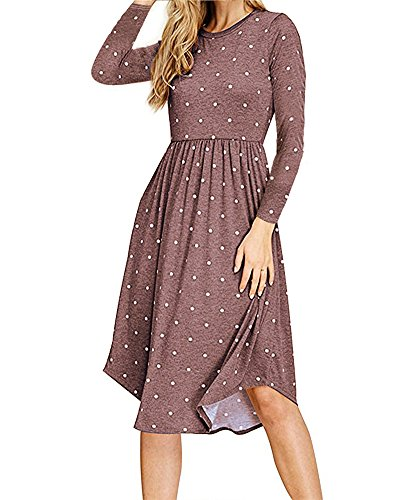 (LEANI Women's Summer Polka Dot Short Sleeve Pleated Loose Midi Dress Casual Empire Waist Pockets Swing Dress (Coffee-Long Sleeve,)