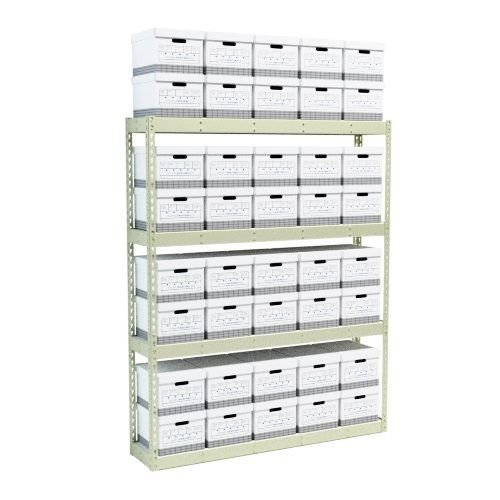 Boltless Wide Span Box Shelving with 4 Levels, Starter Single-Sided Unit (69