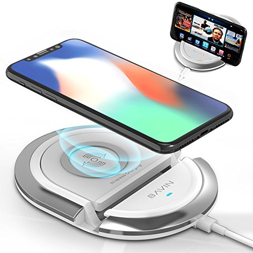 Htc Phone Pad - QI Wireless Charging Stand,Bavin 10W Fast Wireless Charging Pad Compatible for iPhone XR/8/8Plus/X,Samsung S6/S7/S8/S8P/S9/S9P/Note8,Google Mexus 4/5/6/7,and All Qi-Enabled Phones (No AC Adapter)