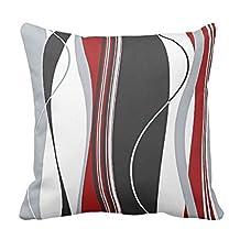 Wavy Vertical Stripes Red Black White Grey Throw pillowcase Pillow shams case Cushion Cover 16*16