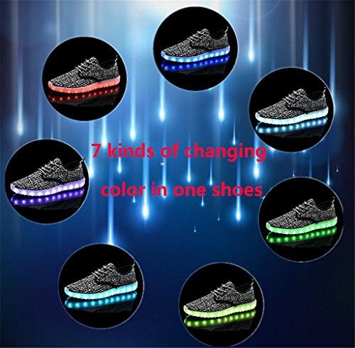 UNN LED leuchten Schuhe für Männer Frauen und Kinder USB Lade blinkt leuchtende leuchtende Turnschuhe Hellgrau