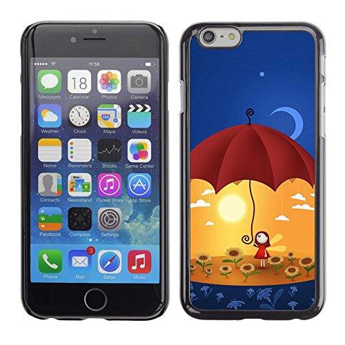 TopCaseStore / caoutchouc Hard Case Housse de protection la Peau - Umbrella Sun Flowers Yellow Moon Art - Apple iPhone 6 Plus 5.5