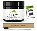 Isabella's Clearly GLOW Teeth Whitening Activated Charcoal Powder + FREE Soft Bamboo Toothbrush - 100% Organic Food Grade Non-GMO, Better than Strips, Bleach, Toothpaste. Removes Stains & Plaque. USA (20g)
