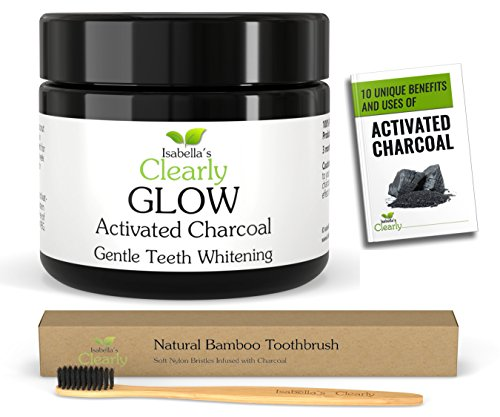 Isabella's Clearly GLOW Teeth Whitening Activated Charcoal Powder + FREE Soft Bamboo Toothbrush - 100% Organic Food Grade...