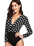 Verdusa Women's Long Sleeve Wrap V-Neck Polka Dot Leotard Blouse Bodysuit Multicolored S