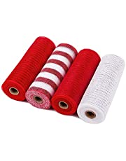 LaRibbons Deco Poly Mesh Ribbon - 10 inch x 30 feet Each Roll - Metallic Foil Red and White Rolls for Wreaths, Swags and Decorating - 4 Pack