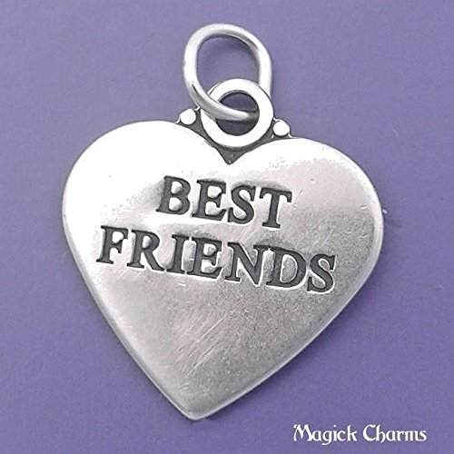 (925 Sterling Silver Best Friends Heart Charm 2-Sided Pendant Jewelry Making Supply, Pendant, Charms, Bracelet, DIY Crafting by Wholesale Charms)