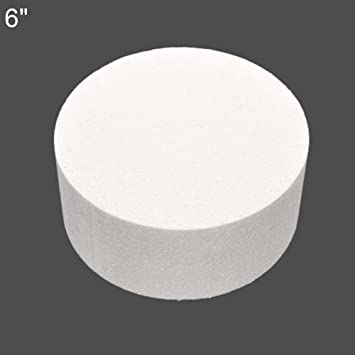Steellwingsf - Maqueta redonda de espuma de poliestireno para pasteles, azúcar, decoración de flores, modelo de práctica 6 pulgadas blanco: Amazon.es: Hogar