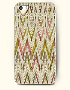 OOFIT Aztec Indian Chevron Zigzag Pattern Hard Case for Apple iPhone 4 4S White Pink Yellow Chevron Stripes