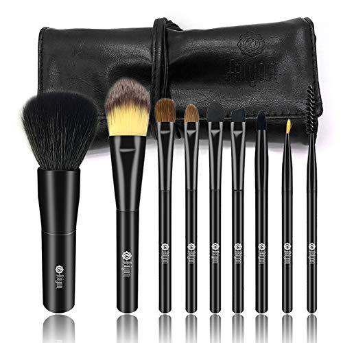 FEIYAN Professional Makeup Brush Set Natural Goat Hair Premium Synthetic Kabuki Cosmetics Brush kit with PU Leather Case(9 pcs, -