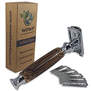 Double Edged Safety Razor with Long Natural Bamboo Handle - Experience A Better Shave - Includes 5 Blades - Eco Friendly Male Grooming - WowE LifeStyle