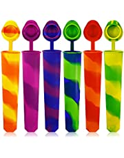 Silicone Ice Pop Molds Set of 6, maxin Mold Colored Rainbow Swirl Ice Popsicle Mold Maker with Attached Lids (Asorted Color)