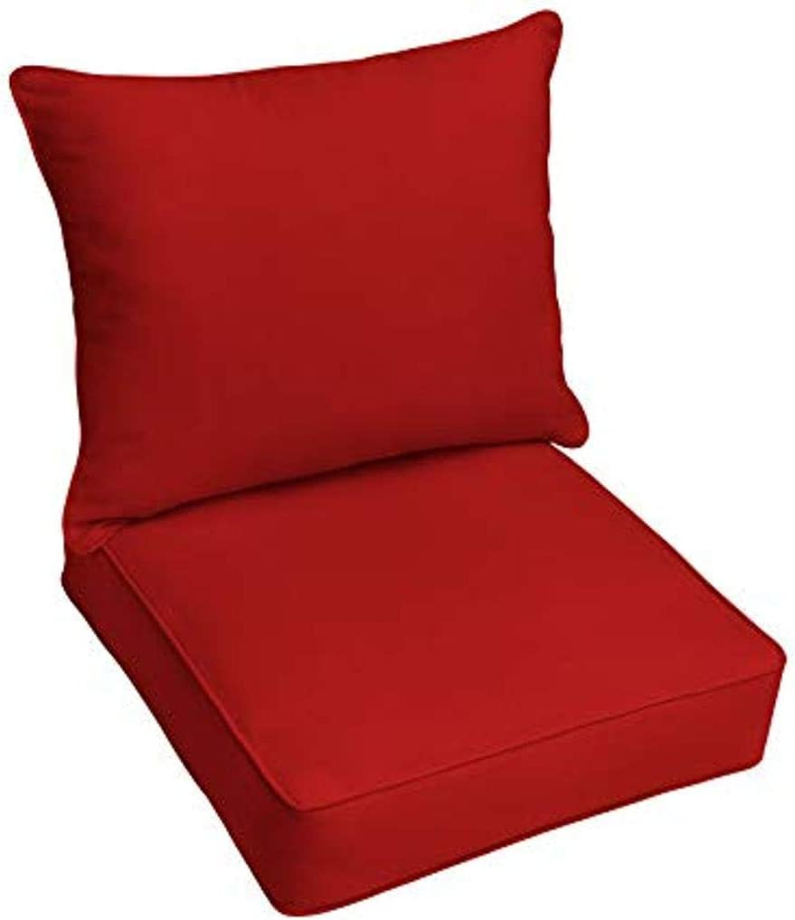 Mozaic AZPC4964 Indoor or Outdoor Sunbrella Deep Seating Cushion & Pillow Set with Corded Edges, 23 in W x 25 in D, Canvas Jockey Red