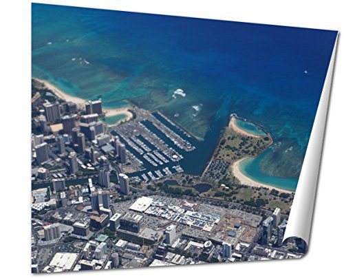 Ashley Giclee Fine Art Print, Waikiki Ala Wai Canal Ala Moana Mall Park And Ocean, 16x20, - Moana Ala Mall