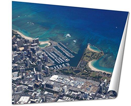 Ashley Giclee Fine Art Print, Waikiki Ala Wai Canal Ala Moana Mall Park And Ocean, 16x20, - Moana Hawaii Mall Ala