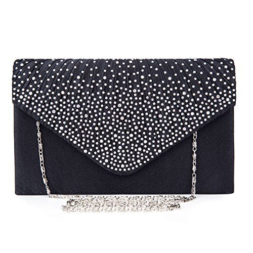 Black Satin Diamante Clutch Bag - 7