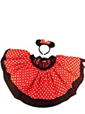 Mini Mouse Tutu Style Red White Polka Dot Skirt Fancy Dress Costume with Headband