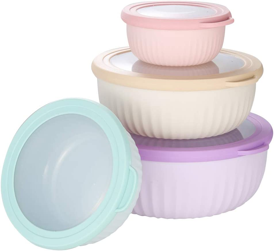 4 Pieces Food Storage Containers with Lids Plastic BPA-free Mixing Bowl with Lids Prep & Serve Bowl Set Nesting Storage Food Container Dishwasher Freezer Microwave Safe