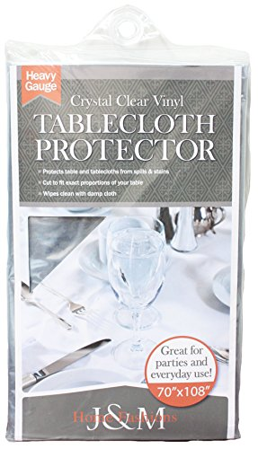 """Crystal Clear Table Top Protector, 70x90"""", Plastic Tablecloth Kitchen Dining Room Wood Furniture Protective Cover"""