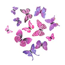 MonkeyJack 12 Pieces 3D Butterfly Art Decal Home Decor Mural Wall Stickers - Purple