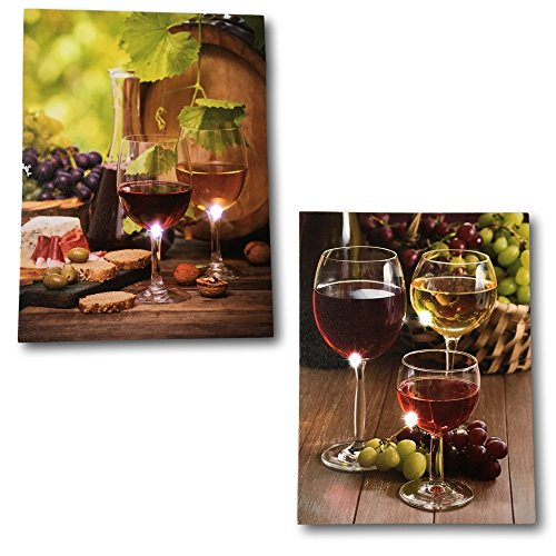 BANBERRY DESIGNS Wine Decor Wall Art - Set of 2 LED Canvas Wine Prints ()