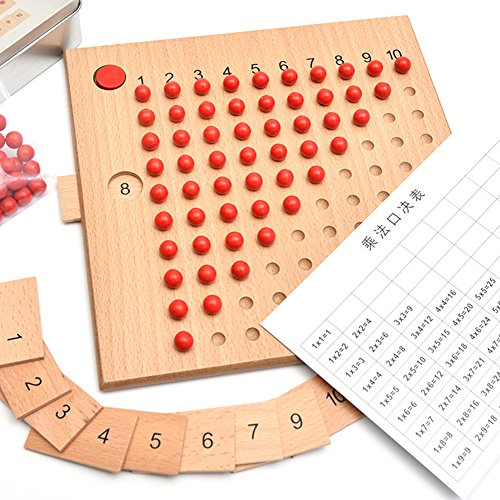 elegantstunning Math Educational Wooden Toy Multiplication and Division Bead Board for Early Childhood Training Halloween Bags for Kids Multiplication -