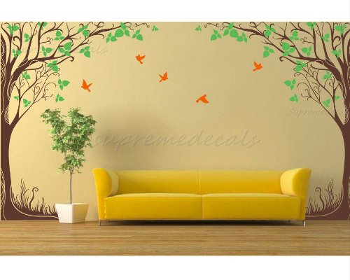 Custom Color PopDecals - New design - Twin fantasy trees(102''H) vinyl art wall decals home murals by PopDecals