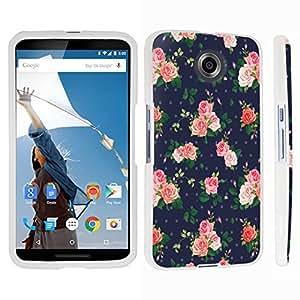DuroCase ? Motorola Google Nexus 6 Hard Case White - (Navy Roses)