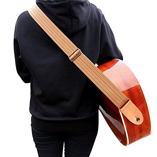 Correa para guitarra con piel auténtica extremo para bajo acústico y guitarra eléctrica–incluye correa de botón y...