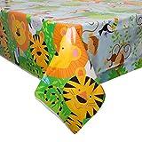 Unique Party 52083 - Animal Jungle Party Plastic Tablecloth, 7ft x 4.5ft